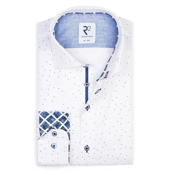 Extra Long Sleeves. White dots print cotton shirt.
