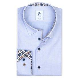 Extra Lange Mouwen. Lichtblauw Herringbone katoenen overhemd.