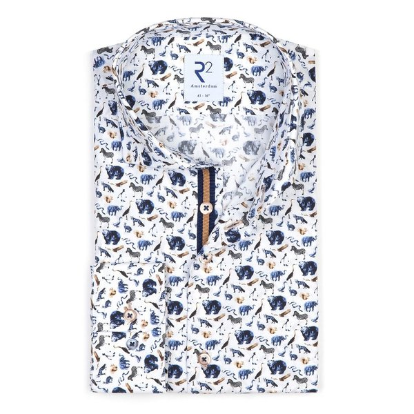 Extra Long Sleeves. White animal print cotton shirt.