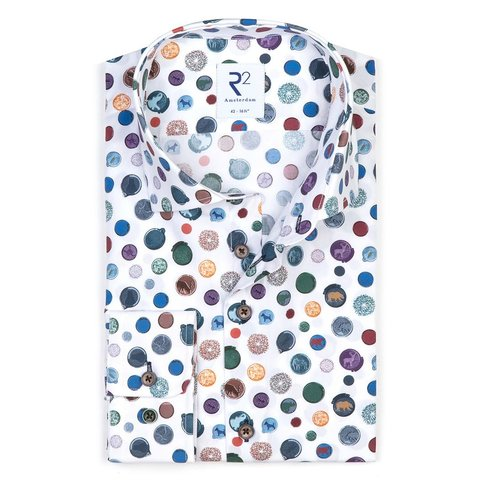 Extra Long Sleeves. White dots cotton shirt.