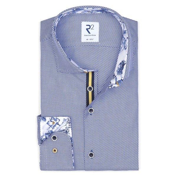 Blue dobby cotton shirt.