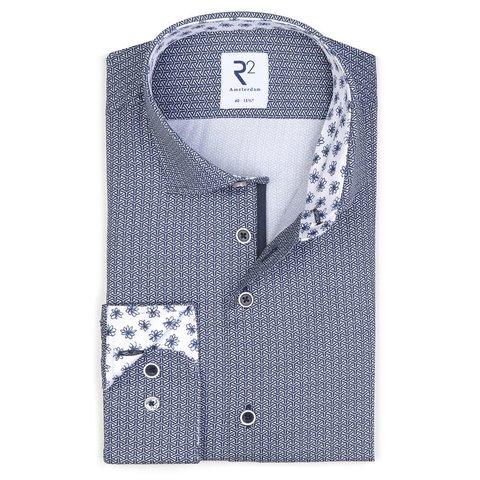 Donkerblauw symmetrische print katoenen overhemd.