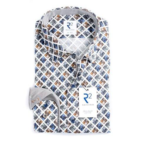Wit met grafische print katoenen overhemd.
