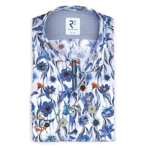 Wit met bloemenprint katoenen overhemd.