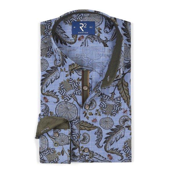 Blauw bladerprint katoenen overhemd.