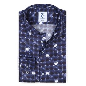 Blauw rondjes print katoenen overhemd.