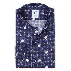 Blue rounds print cotton shirt.