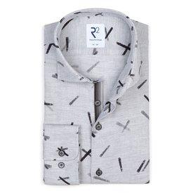 Grijs grafische print Flanel katoenen overhemd.