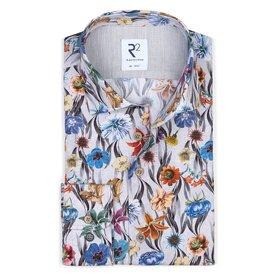 Grey floral print cotton shirt.