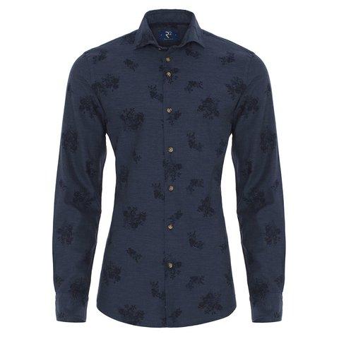 Navy blue flower print flanel shirt.