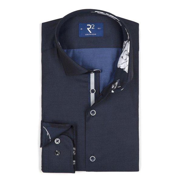 Navy katoenen overhemd.