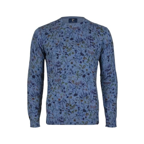 Baumwollpullover mit Blumenmuster in Blau.