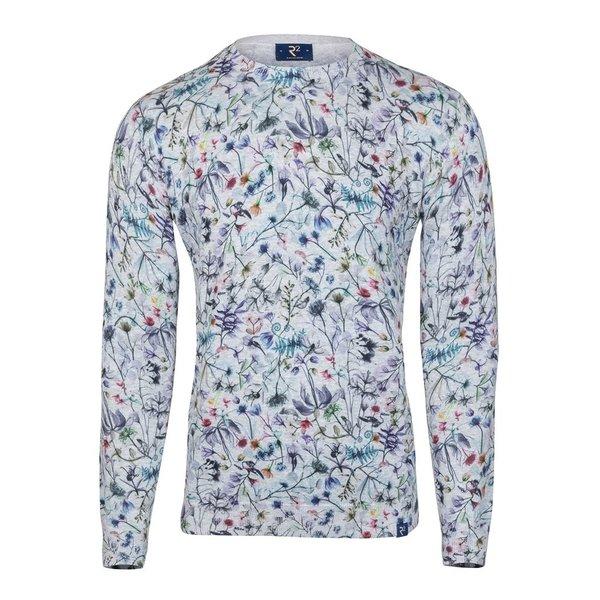 Grey flower print cotton pullover.