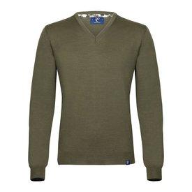 Dunkelgrüner Pullover aus extrafeiner Wolle.