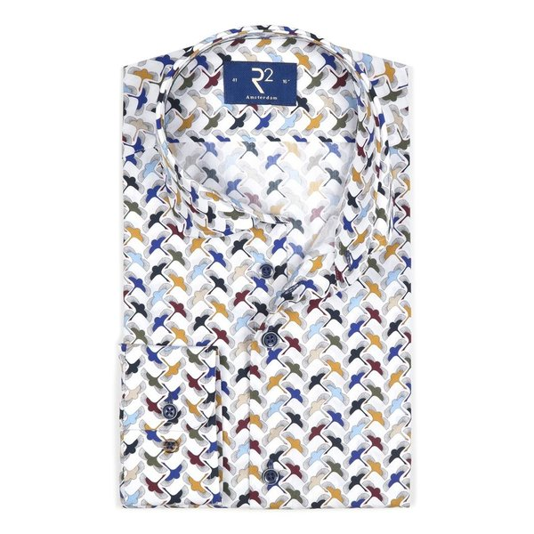 R2 White cranes cotton shirt.