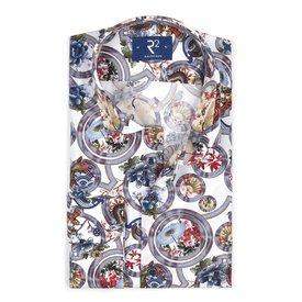 R2 Multicoloured Japanese print cotton shirt.