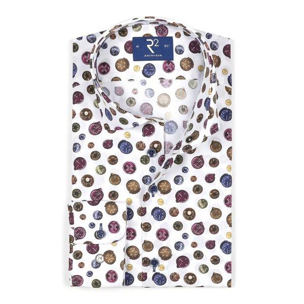 White compass print cotton shirt.