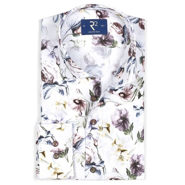 R2 White floral print cotton shirt.