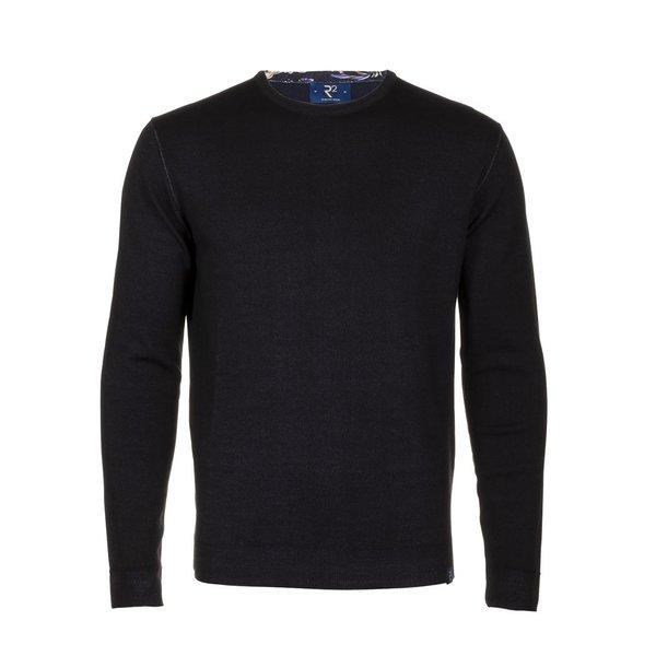 Navy blauw extra fine wool pullover.