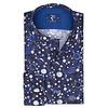 Donkerblauw stippenprint katoenen overhemd.