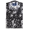 Black flower print cotton shirt.