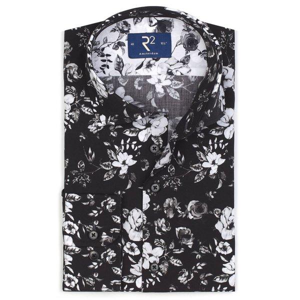 Zwart bloemenprint katoenen overhemd.