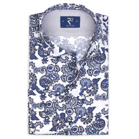 White paisley print cotton shirt.