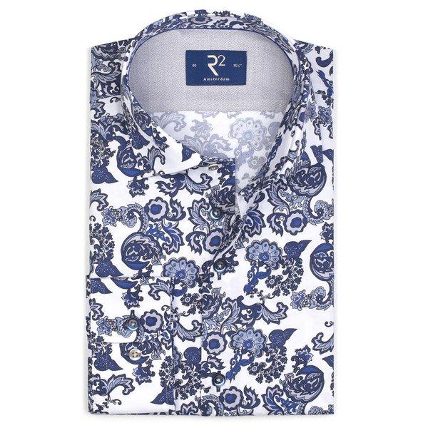 R2 White paisley print cotton shirt.