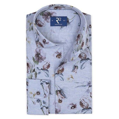Lichtblauw bloemenprint flanel overhemd.
