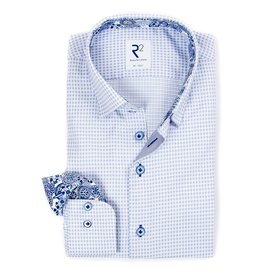 R2 Light blue mini check cotton shirt with chest pocket.