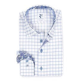 White blue checked cotton shirt with chest pocket.