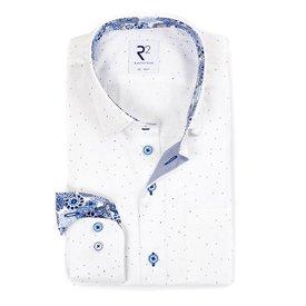 R2 Weißes Baumwollhemd mit Mini-Print und Brusttasche.