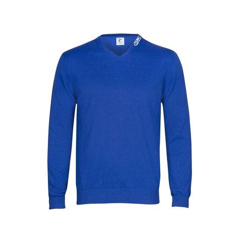 Kobaltblauer Pullover aus extra feiner Wolle.