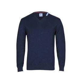 Marineblauer Pullover aus extra feiner Wolle.
