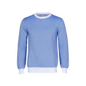 Weißer und blauer Rippenstrick Baumwoll Pullover.