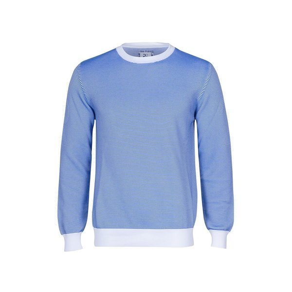 R2 Weißer und blauer Rippenstrick Baumwoll Pullover.