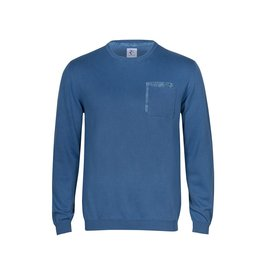 Blauer Pullover aus extra feiner Wolle.