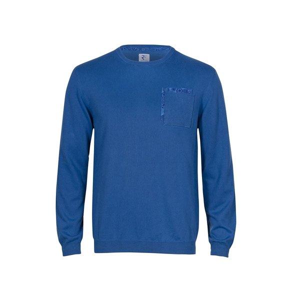 R2 Blauer Pullover aus extra feiner Wolle.
