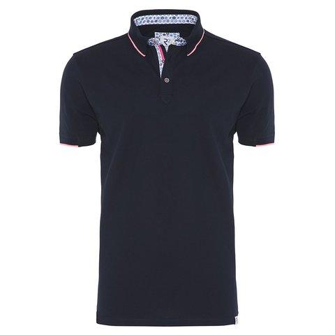 Navy blue polo shirt.