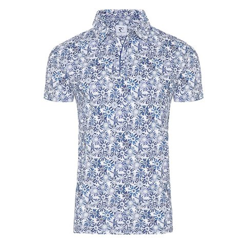 Polohemd mit blauen Blumendruck.