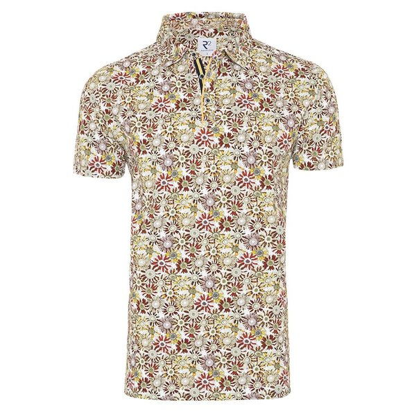 R2 White flower print polo.