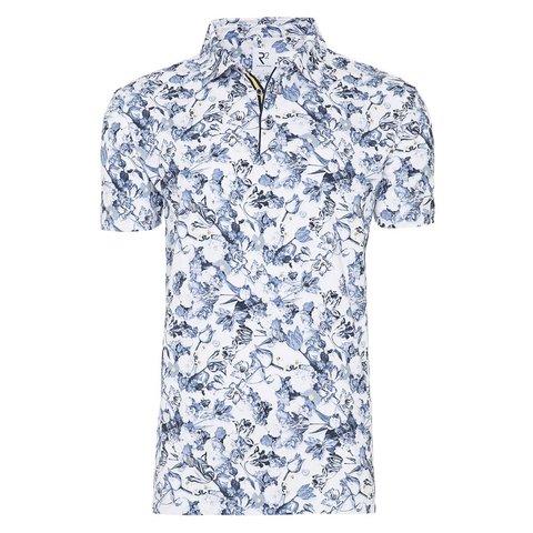 Polohemd mit weißem Blumendruck.
