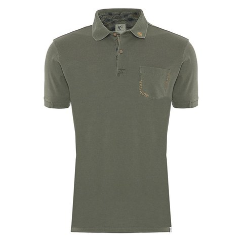 Army green plain polo.