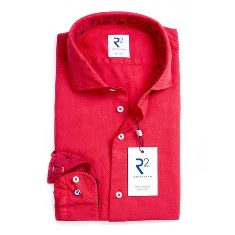 Red garment dyed cotton shirt.