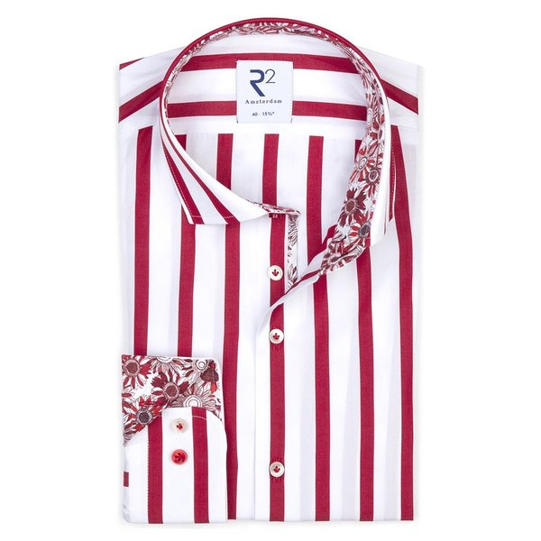Red striped cotton shirt.