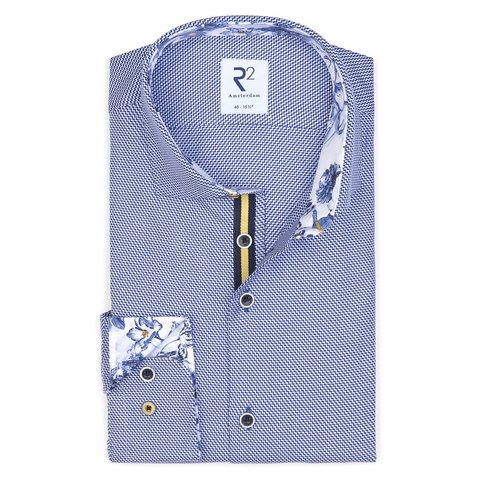 Blauw dobby katoenen overhemd.