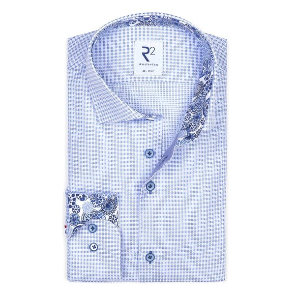 Light blue Dobby cotton shirt.