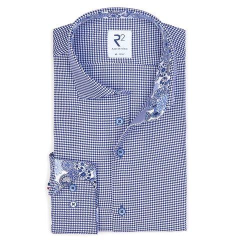 Blauw Pied de Poule katoenen overhemd.