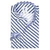 Weiß-blau gestreiftes Baumwollhemd.