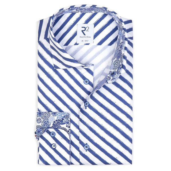 R2 White blue striped cotton shirt.